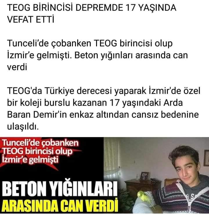Teog birincisi eğitim almak için gittiği İzmir'de deprem nedeniyle hayatını kaybetti