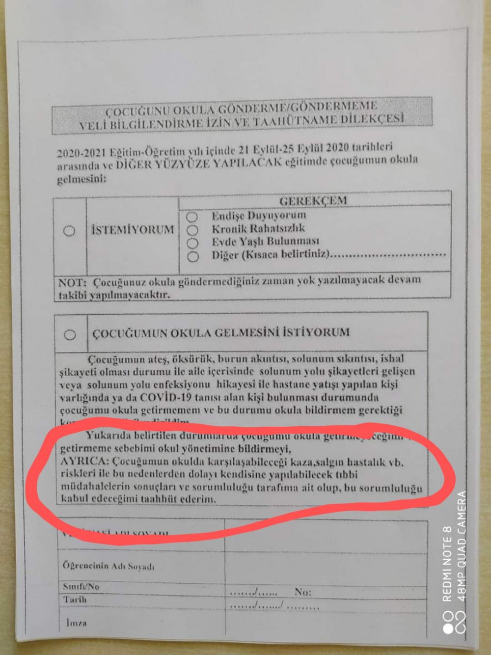 Okullarda kayıt yapılırken veliye sunulan form