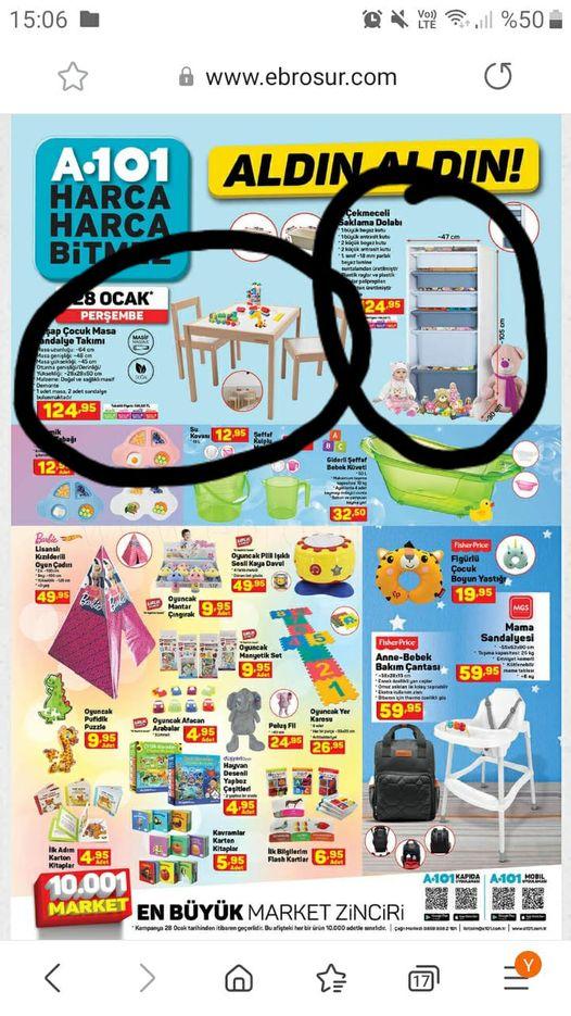 Çocuk masa sandalyesi ve oyuncak dolabı önerisi