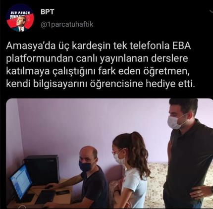 Aynı Telefondan Üç Kardeş EBA'ya Giriyormuş: Amasya'da Bir Öğretmen, Bilgisayarını Öğrencisine Hediye Etti