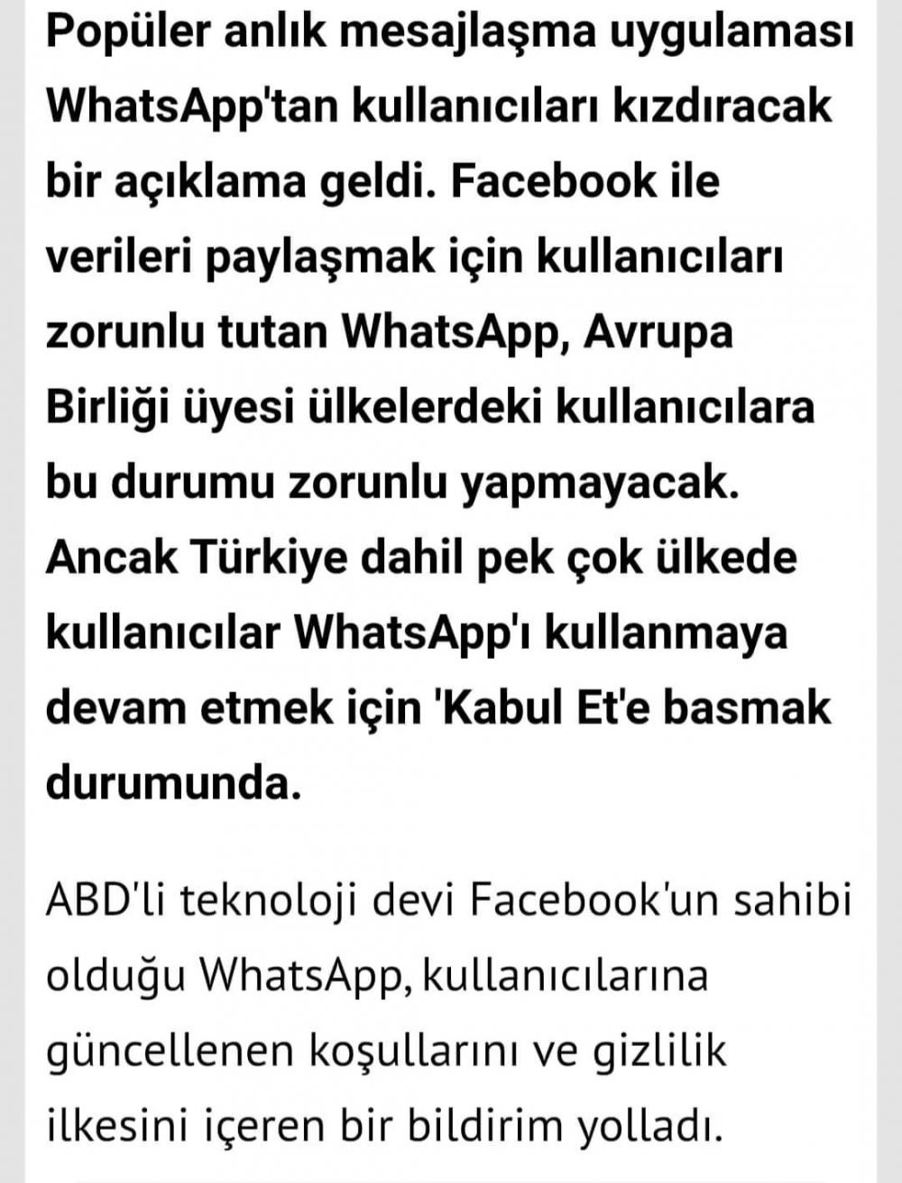 WhatsApp gizlilik sözleşmesi nedir, ne anlama geliyor? Facebook ile hangi verileriniz paylaşılacak?
