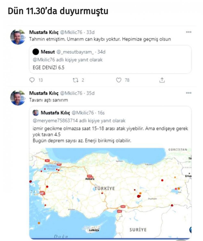 Mustafa Kılıç isimli vatandaş, İzmir'de meydana gelen 6,6 şiddetindeki depremi 15 saat önceden tahmin etti.