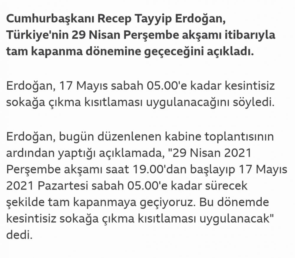 Cumhurbaşkanı Erdoğan açıkladı :Tam kapanma olacak