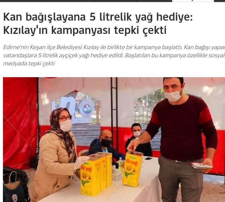Kızılay'ın kampanyası: Kan bağışı yapana 5 litrelik yağ hediye