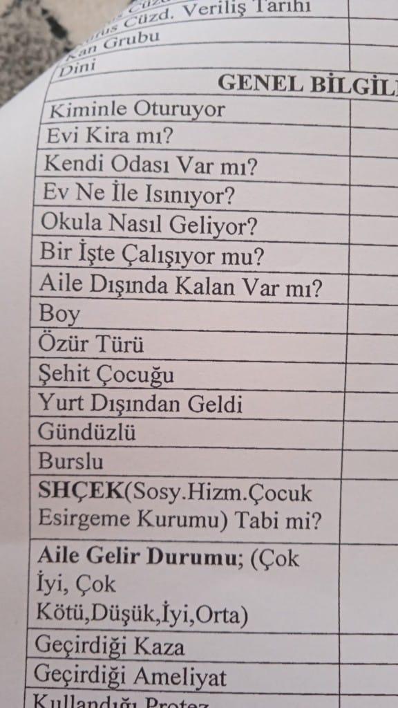Devlet anasınıfı okul kayıt formu
