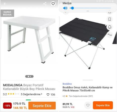 Piknik masası önerisi